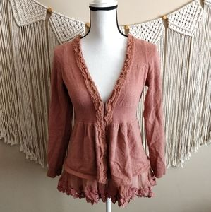 Anthropologie Knitted & Knotted Wool Rose Cardigan
